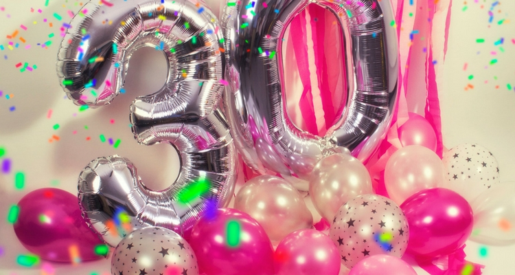 globos con números 30 color plateado