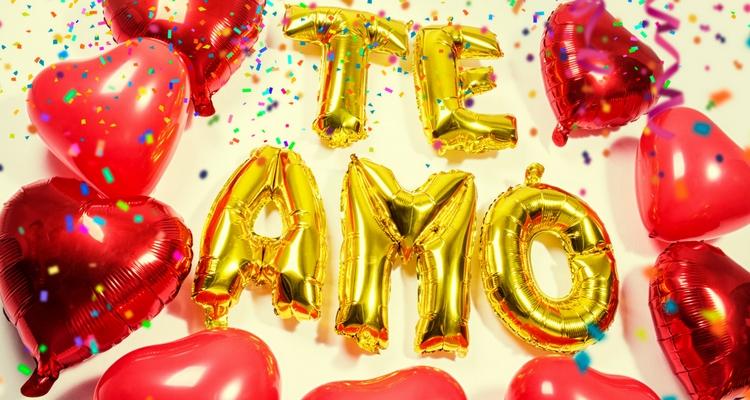 globos con numeros y letras frase te amo