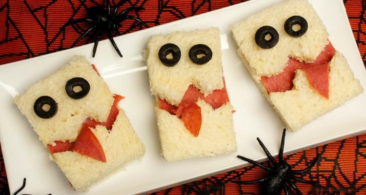 decoración para halloween sandwiches