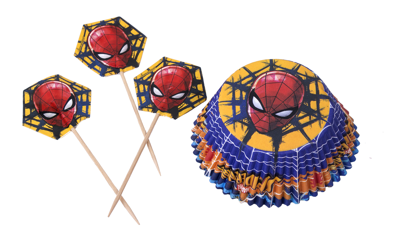 Decoracíón de Spiderman Set de capsulas y pinchos