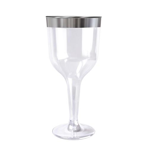 decoracion de mesas copa plateado para vino