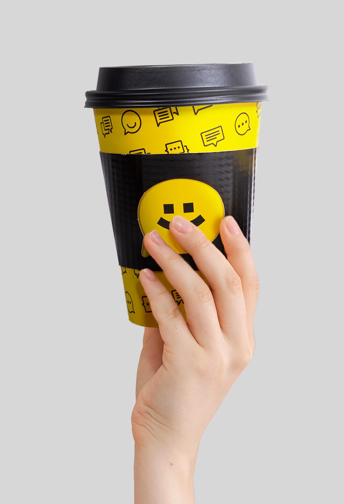vasos para cafe en grano amarillo
